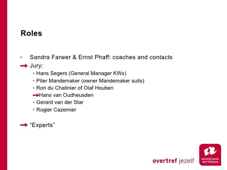 Roles <ul><li>Sandra Farwer & Ernst Phaff: coaches and contacts </li></ul><ul><li>Jury: </li></ul><ul><ul><li>Hans Segers ...