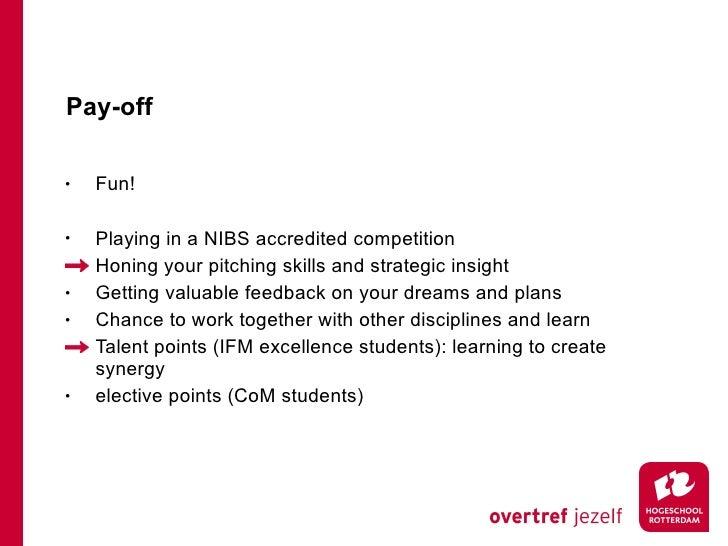 Pay-off <ul><li>Fun! </li></ul><ul><li>Playing in a NIBS accredited competition </li></ul><ul><li>Honing your pitching ski...