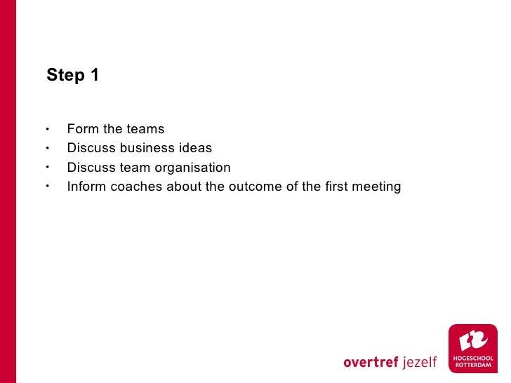 Step 1 <ul><li>Form the teams </li></ul><ul><li>Discuss business ideas </li></ul><ul><li>Discuss team organisation </li></...