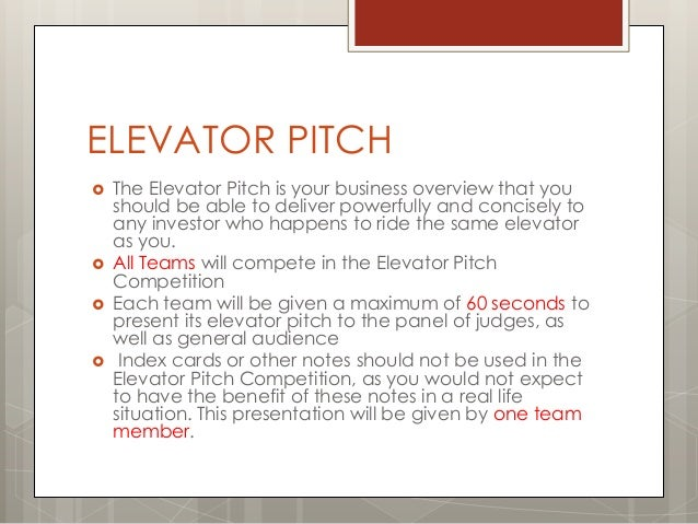 business plan elevator pitch definition
