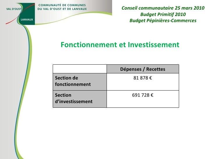 Fonctionnement et Investissement Conseil communautaire 25 mars 2010 Budget Primitif 2010 Budget Pépinières-Commerces Dépen...