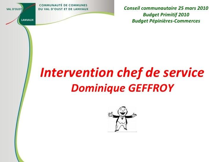 Intervention chef de service Dominique GEFFROY Conseil communautaire 25 mars 2010 Budget Primitif 2010 Budget Pépinières-C...