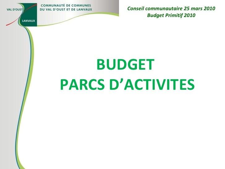 BUDGET  PARCS D'ACTIVITES Conseil communautaire 25 mars 2010 Budget Primitif 2010