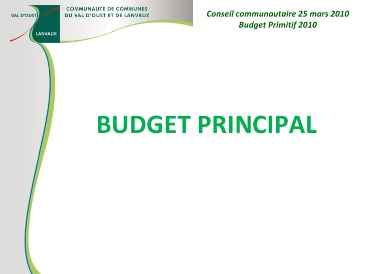 BUDGET PRINCIPAL Conseil communautaire 25 mars 2010 Budget Primitif 2010