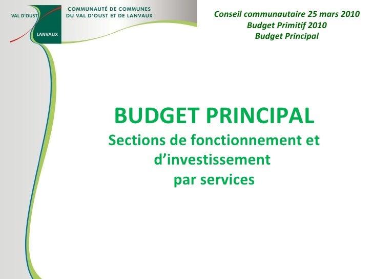 BUDGET PRINCIPAL Sections de fonctionnement et d'investissement  par services Conseil communautaire 25 mars 2010 Budget Pr...