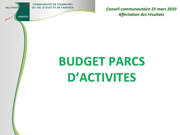 BUDGET PARCS D'ACTIVITES Conseil communautaire 25 mars 2010 Affectation des résultats