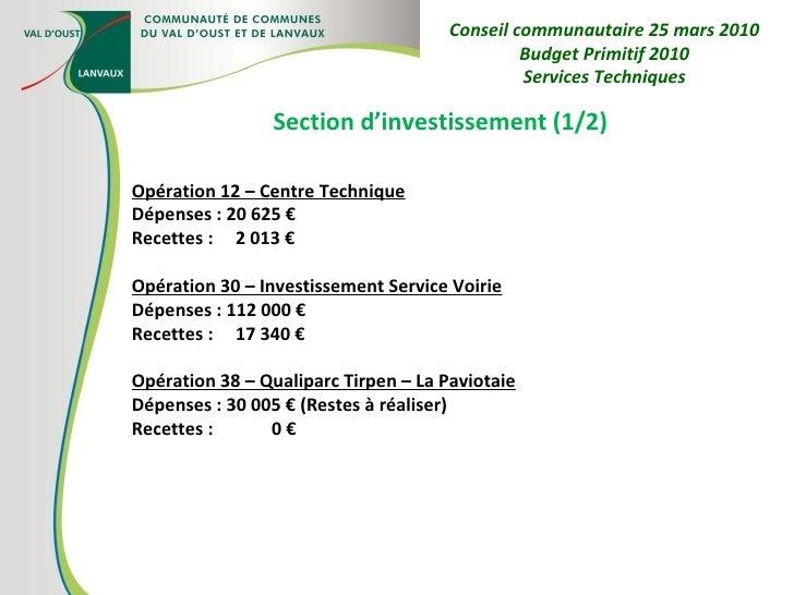Section d'investissement (1/2) Opération 12 – Centre Technique Dépenses : 20 625 € Recettes :  2 013 € Opération 30 – Inve...