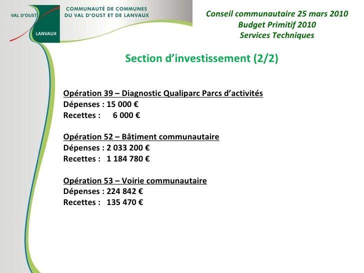 Section d'investissement (2/2) Opération 39 – Diagnostic Qualiparc Parcs d'activités Dépenses : 15 000 € Recettes :  6 000...