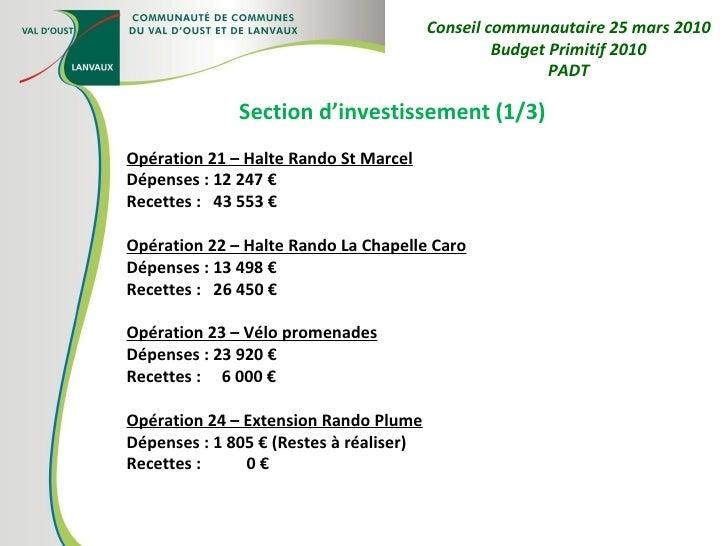 Section d'investissement (1/3) Opération 21 – Halte Rando St Marcel Dépenses : 12 247 € Recettes :  43 553 € Opération 22 ...