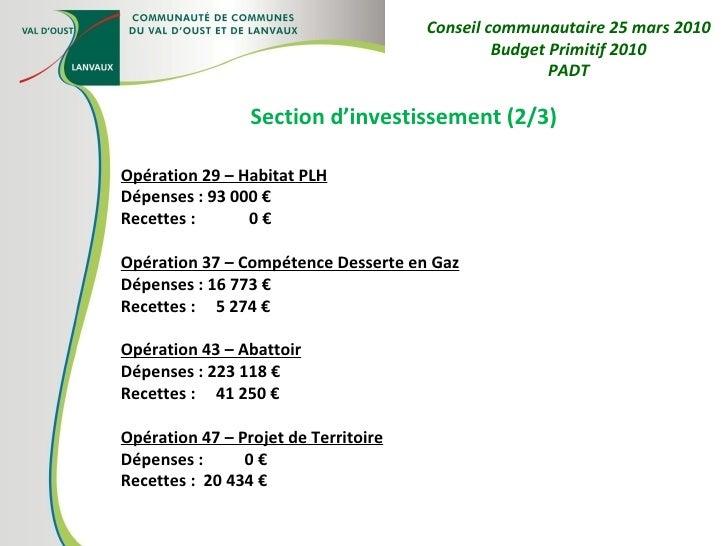 Section d'investissement (2/3) Opération 29 – Habitat PLH Dépenses : 93 000 € Recettes :  0 € Opération 37 – Compétence De...