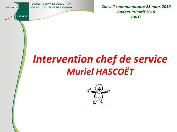 Intervention chef de service Muriel HASCOËT Conseil communautaire 25 mars 2010 Budget Primitif 2010 PADT