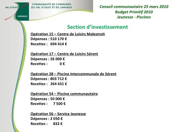 Section d'investissement Opération 15 – Centre de Loisirs Malestroit Dépenses : 510 170 € Recettes :  694 414 € Opération ...