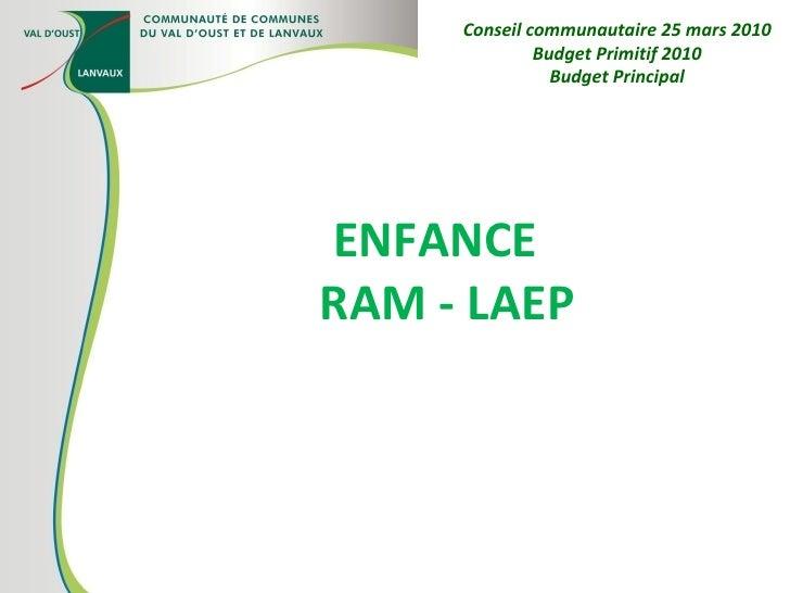 ENFANCE  RAM - LAEP Conseil communautaire 25 mars 2010 Budget Primitif 2010 Budget Principal