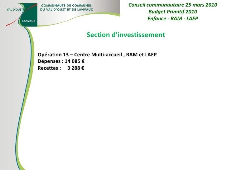 Section d'investissement Opération 13 – Centre Multi-accueil , RAM et LAEP Dépenses : 14 085 € Recettes :  3 288 € Conseil...