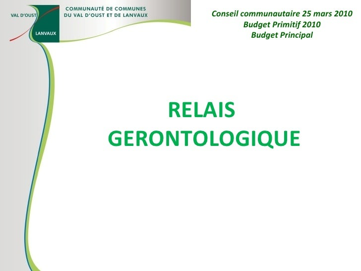 RELAIS  GERONTOLOGIQUE Conseil communautaire 25 mars 2010 Budget Primitif 2010 Budget Principal