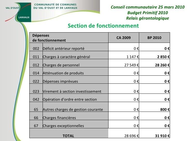 Section de fonctionnement Conseil communautaire 25 mars 2010 Budget Primitif 2010 Relais gérontologique Dépenses de foncti...