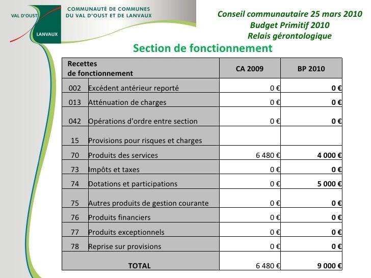 Section de fonctionnement Conseil communautaire 25 mars 2010 Budget Primitif 2010 Relais gérontologique Recettes de foncti...
