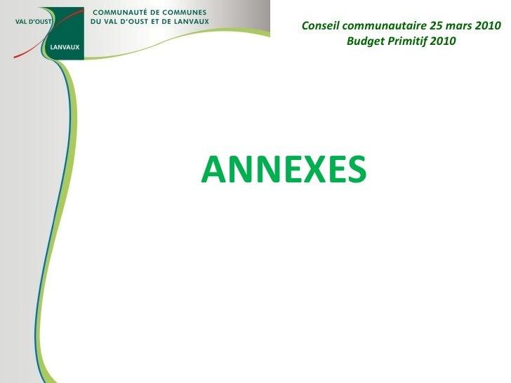 ANNEXES  Conseil communautaire 25 mars 2010 Budget Primitif 2010