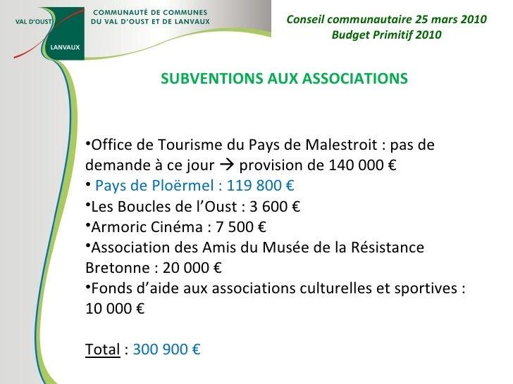 <ul><li>SUBVENTIONS AUX ASSOCIATIONS </li></ul><ul><li>Office de Tourisme du Pays de Malestroit : pas de demande à ce jour...