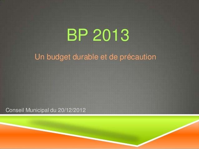 BP 2013           Un budget durable et de précautionConseil Municipal du 20/12/2012