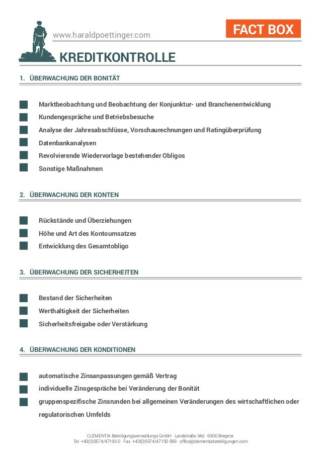 www.haraldpoettinger.com 1. ÜBERWACHUNG DER BONITÄT  Marktbeobachtung und Beobachtung der Konjunktur- und Branchenentwick...