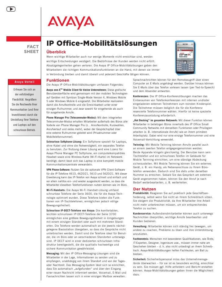 FACT                              IP Office-Mobilitätslösungen             SHEET            Überblick                     ...