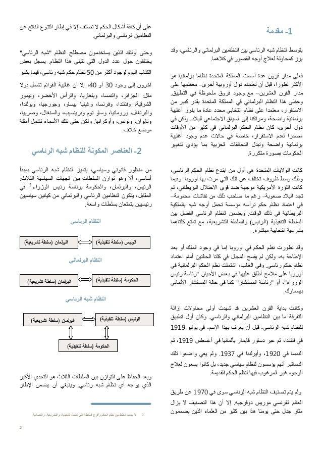 أنظمة الحكم : لنظام شبه الرئاسي نموذجا Slide 2