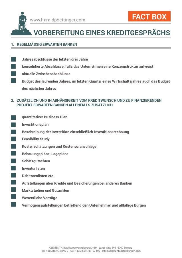 www.haraldpoettinger.com 1. REGELMÄSSIG ERWARTEN BANKEN  Jahresabschlüsse der letzten drei Jahre  konsolidierte Abschlüs...