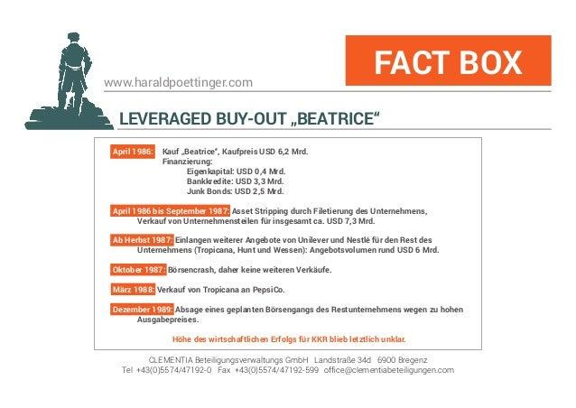 """www.haraldpoettinger.com LEVERAGED BUY-OUT """"BEATRICE"""" FACT BOX CLEMENTIA Beteiligungsverwaltungs GmbH Landstraße 34d 6900 ..."""