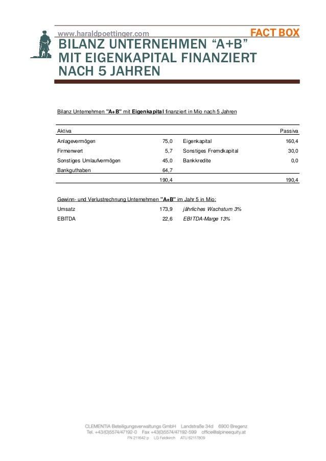 """www.haraldpoettinger.com FACT BOX BILANZ UNTERNEHMEN """"A+B"""" MIT EIGENKAPITAL FINANZIERT NACH 5 JAHREN Bilanz Unternehmen """"A..."""