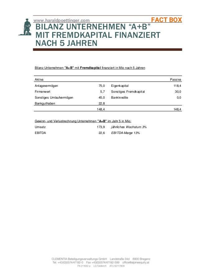 """www.haraldpoettinger.com FACT BOX BILANZ UNTERNEHMEN """"A+B"""" MIT FREMDKAPITAL FINANZIERT NACH 5 JAHREN Bilanz Unternehmen """"A..."""