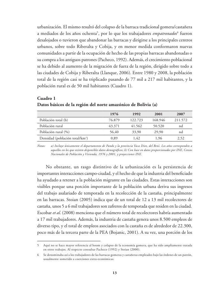 Cuadro 3Distribución de tierras en el norte amazónico de Bolivia (a)                                                      ...