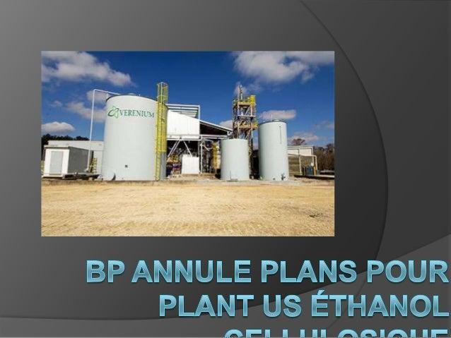 BP a annoncé aujourdhui quelle lannulation desplans pour construire une usine commercialedéthanol cellulosique à Highlands...