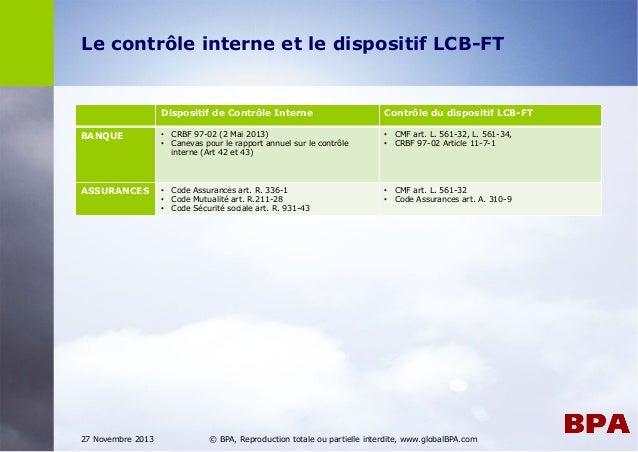 Contrôle Interne d'un dispositif anti-blanchiment (LCB-FT)