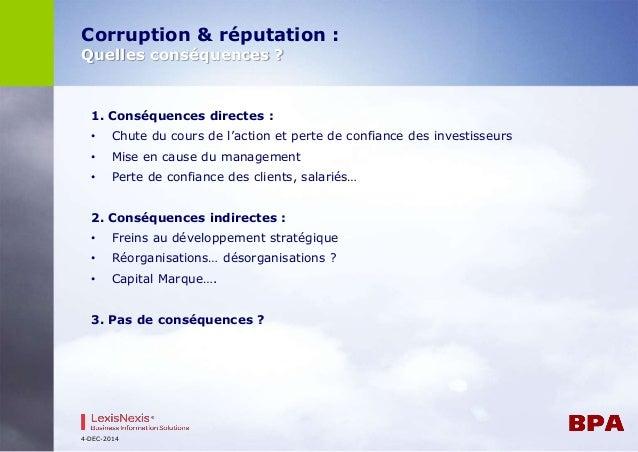 Corruption & réputation :  Quelles conséquences ?  1. Conséquences directes :  • Chute du cours de l'action et perte de co...