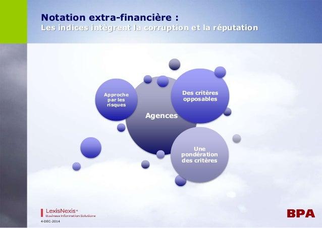 Notation extra-financière :  Les indices intègrent la corruption et la réputation  4-DEC-2014  Agences  Approche  par les ...