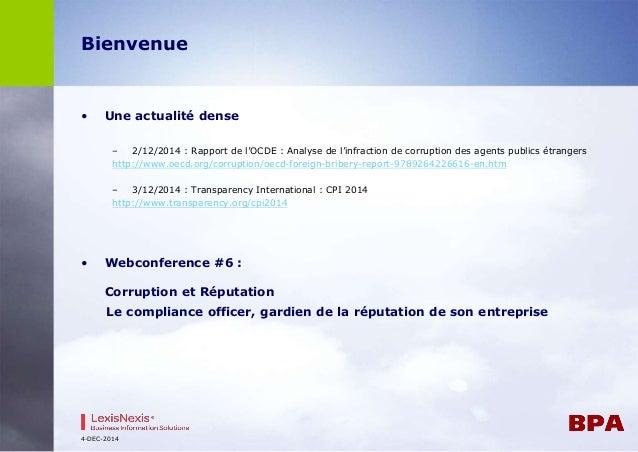 Bienvenue  • Une actualité dense  – 2/12/2014 : Rapport de l'OCDE : Analyse de l'infraction de corruption des agents publi...
