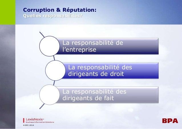 Corruption & Réputation:  Quelles responsabilités?  4-DEC-2014  La responsabilité de  l'entreprise  La responsabilité des ...