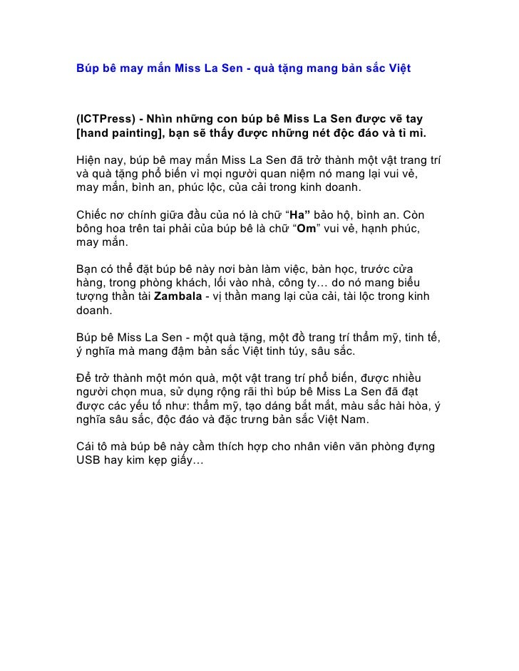 Búp bê may mắn Miss La Sen - quà tặng mang bản sắc Việt(ICTPress) - Nhìn những con búp bê Miss La Sen được vẽ tay[hand pai...