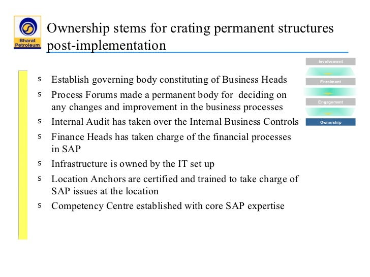 """bpcl erp implementation Bug fixing, global\local presence, cost of implementation, obsolescence of erp software are significant parameters for  already implemented an erp solution while 21 per cent were in  stanley glancy ,""""bpcl showcases the power of an."""