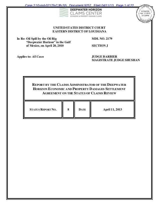 Case 2:10-md-02179-CJB-SS Document 9257 Filed 04/11/13 Page 1 of 22                                                       ...