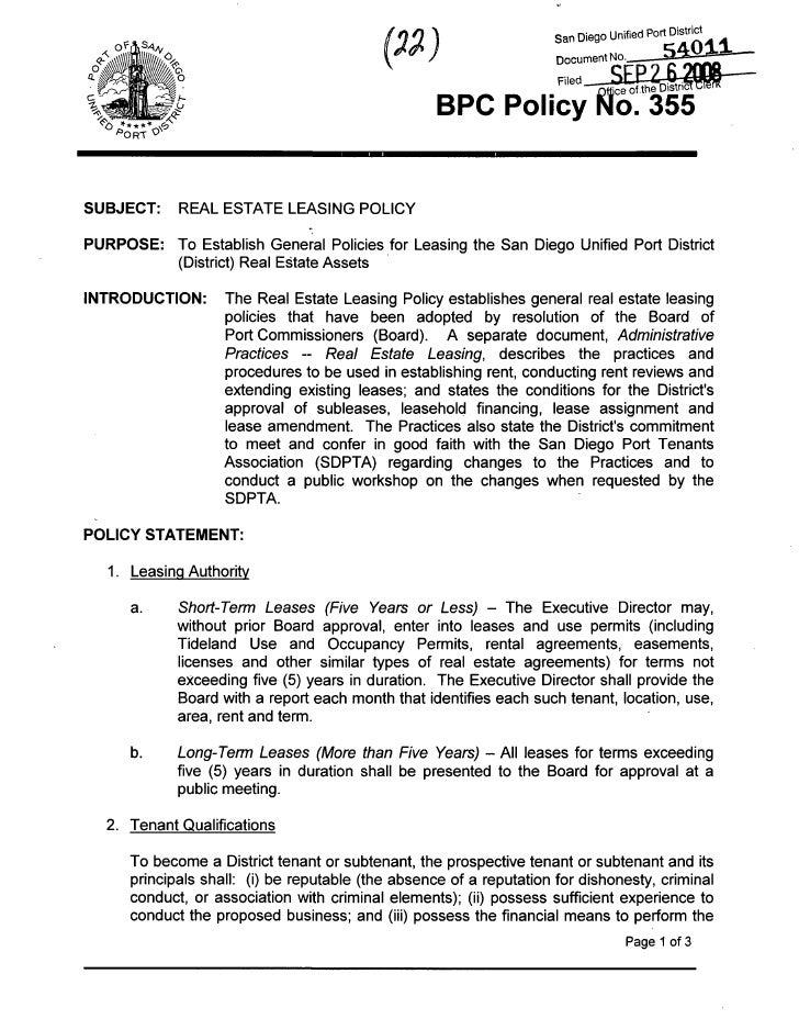 San Diego Unified Port D ^ r ^       '^o ***** <^                                                         BPC Policy l^o. ...