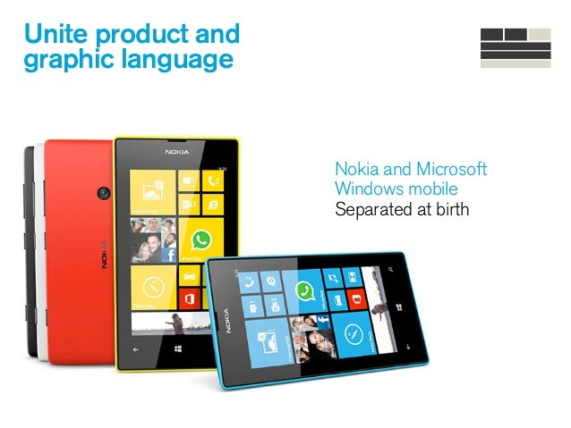 Unite product and graphic language Nokia and Microsoft Windows mobile Separated at birth