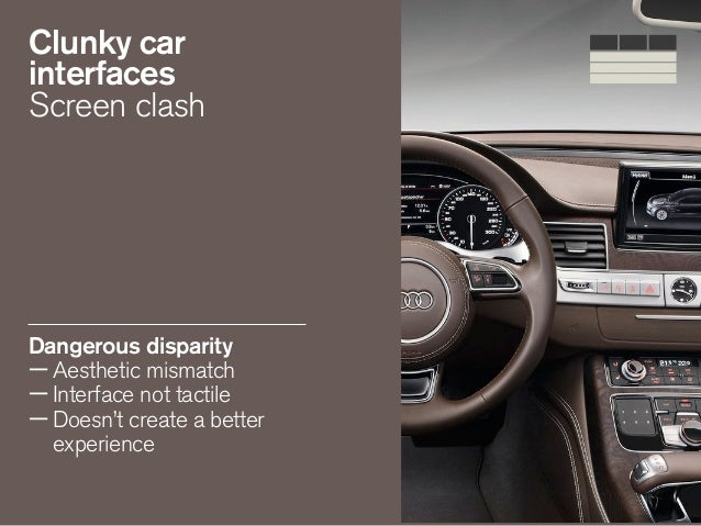Clunky car interfaces Screen clash Dangerous disparity —Aesthetic mismatch —Interface not tactile —Doesn't create a better...