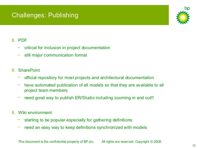 This document is the confidential property of BP plc. All rights are reserved. Copyright © 2006. 12 Challenges: Publishing...
