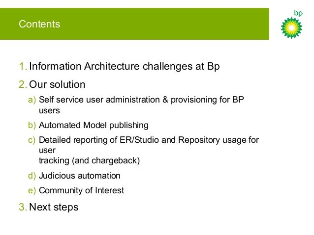 Contents 1. Information Architecture challenges at Bp 2. Our solution a) Self service user administration & provisioning f...