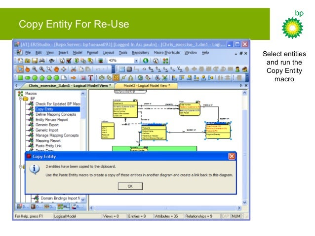 Copy Entity For Re-Use Run the Paste Entity macro in a new diagram