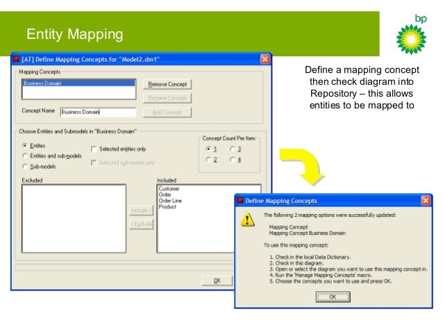 Entity Mapping Reference the mapping concept from the Manage Mapping Concepts macro – this creates list attachments to rep...