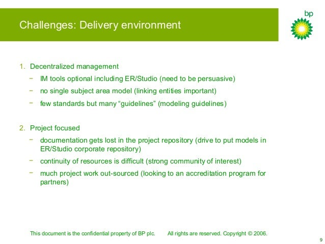 This document is the confidential property of BP plc. All rights are reserved. Copyright © 2006. 9 Challenges: Delivery en...