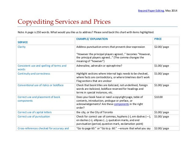 Beyond Paper Editing, May 2014 Copyediting Services and Prices Note: A page is 250 words. What would you like us to addres...